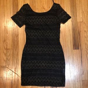 Black body con dress with gold